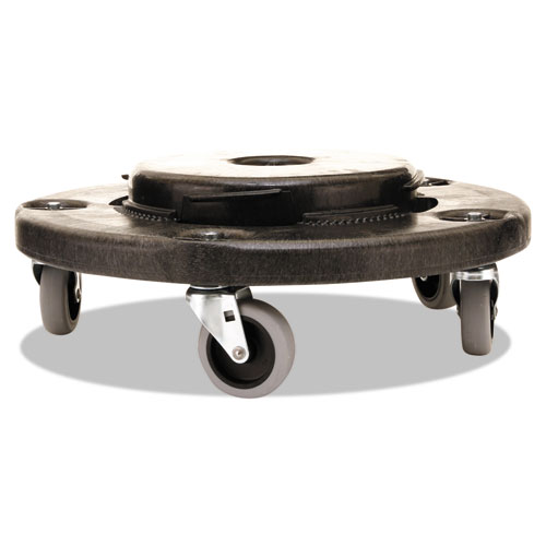 """Brute Round Twist On/Off Dolly, 250 lb Capacity, 18"""" dia x 6.63""""h, Fits 20-55 Gallon BRUTE Containers, Black. Picture 3"""