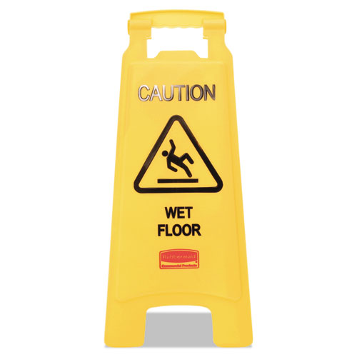 Caution Wet Floor Floor Sign, Plastic, 11 x 12 x 25, Bright Yellow. The main picture.