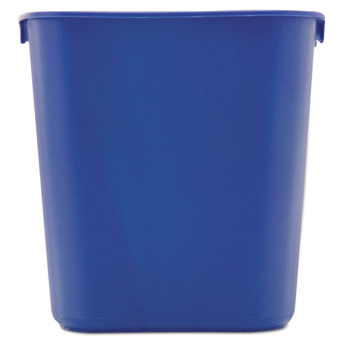 Small Deskside Recycling Container, Rectangular, Plastic, 13.63 qt, Blue. Picture 3