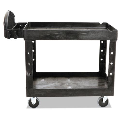 Heavy-Duty Utility Cart, Two-Shelf, 25.9w x 45.2d x 32.2h, Black. Picture 4