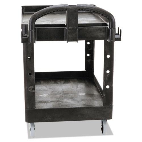 Heavy-Duty Utility Cart, Two-Shelf, 25.9w x 45.2d x 32.2h, Black. Picture 2