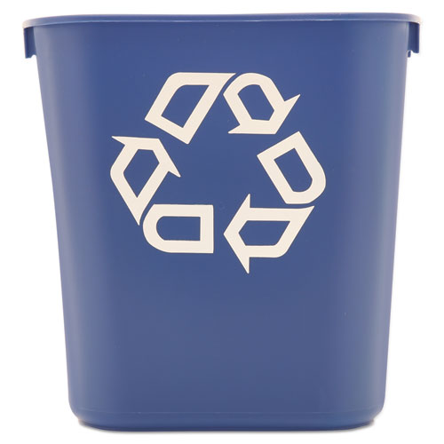 Small Deskside Recycling Container, Rectangular, Plastic, 13.63 qt, Blue. Picture 1