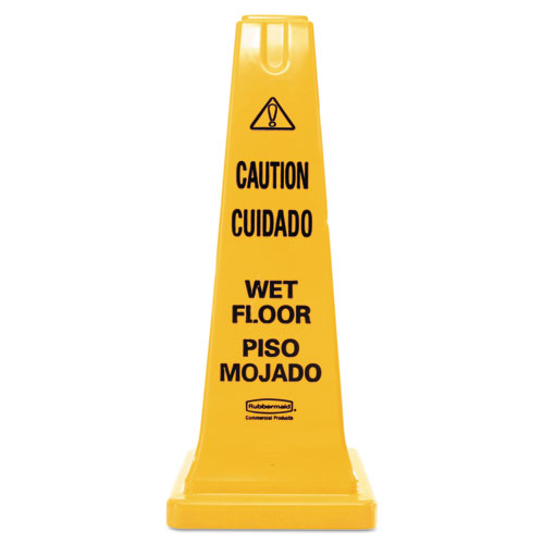Four-Sided Caution, Wet Floor Safety Cone, 10 1/2w x 10 1/2d x 25 5/8h, Yellow. Picture 1