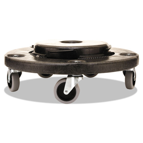 """Brute Round Twist On/Off Dolly, 250 lb Capacity, 18"""" dia x 6.63""""h, Fits 20-55 Gallon BRUTE Containers, Black. Picture 2"""