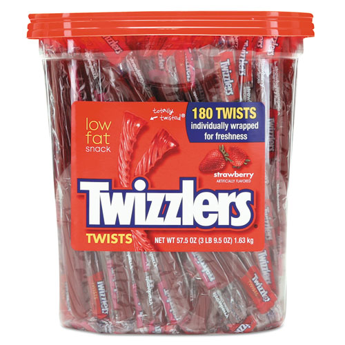 Strawberry Twizzlers Licorice, Individually Wrapped, 180/Tub. Picture 1