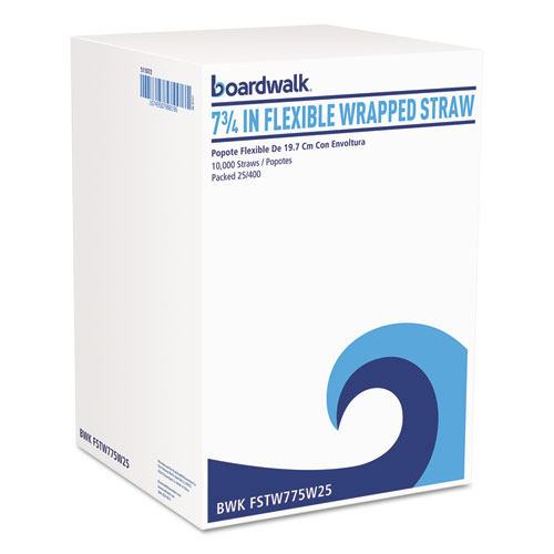 "Flexible Wrapped Straws, 7 3/4"", White, 500/Pack, 20 Packs/Carton. Picture 1"