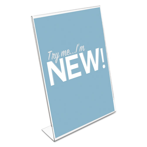 Classic Image Slanted Sign Holder, Portrait, 8 1/2 x 11 Insert, Clear. Picture 3