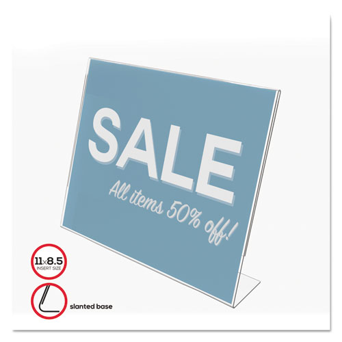 Classic Image Slanted Sign Holder, Landscaped, 11 x 8 1/2 Insert, Clear. Picture 1