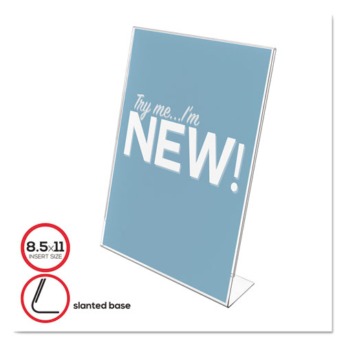 Classic Image Slanted Sign Holder, Portrait, 8 1/2 x 11 Insert, Clear. Picture 1