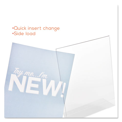 Classic Image Slanted Sign Holder, Portrait, 8 1/2 x 11 Insert, Clear. Picture 9