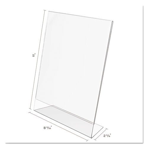 Classic Image Slanted Sign Holder, Portrait, 8 1/2 x 11 Insert, Clear. Picture 5