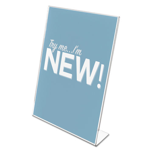 Classic Image Slanted Sign Holder, Portrait, 8 1/2 x 11 Insert, Clear. Picture 2