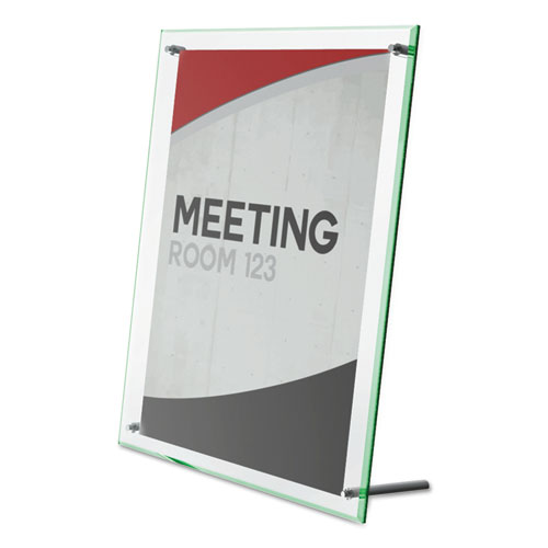 Superior Image Beveled Edge Sign Holder, Letter Insert, Clear/Green-Tinted Edges. Picture 2