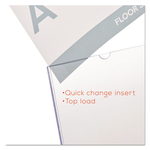 Superior Image Slanted Sign Holder, Portrait, 8 1/2 x 11 Insert, Clear. Picture 9