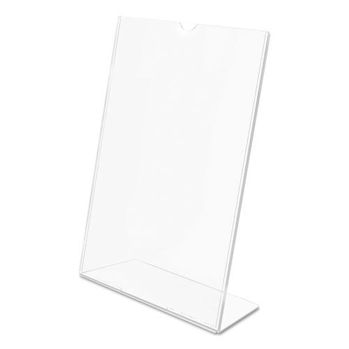 Superior Image Slanted Sign Holder, Portrait, 8 1/2 x 11 Insert, Clear. Picture 6