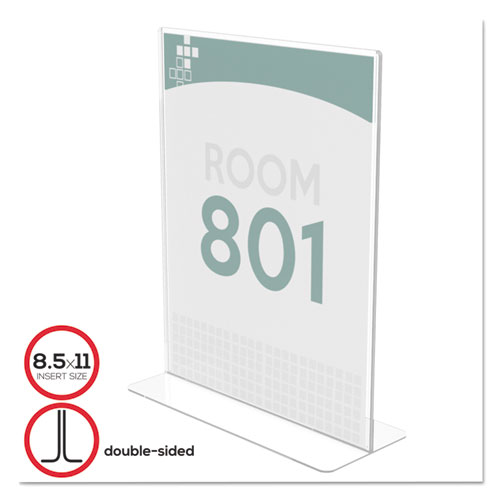 Superior Image Double Sided Sign Holder, 8 1/2 x 11 Insert, Clear. Picture 1