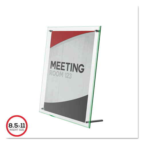Superior Image Beveled Edge Sign Holder, Letter Insert, Clear/Green-Tinted Edges. Picture 1