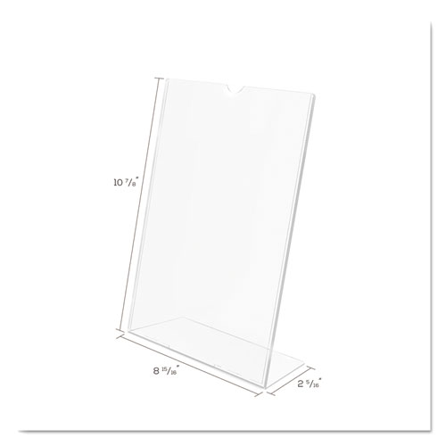 Superior Image Slanted Sign Holder, Portrait, 8 1/2 x 11 Insert, Clear. Picture 5
