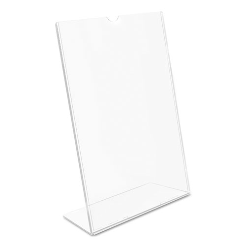 Superior Image Slanted Sign Holder, Portrait, 8 1/2 x 11 Insert, Clear. Picture 7