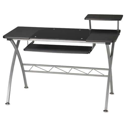 Eastwinds Vision Computer Desk, 47-1/4w x 27d x 34h, Anthracite with Black Glass. Picture 2