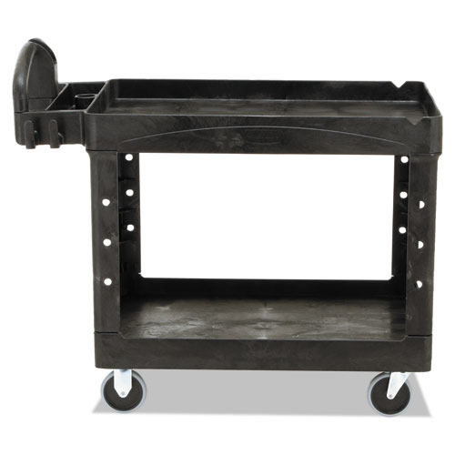 Heavy-Duty Utility Cart, Two-Shelf, 25.9w x 45.2d x 32.2h, Black. Picture 3