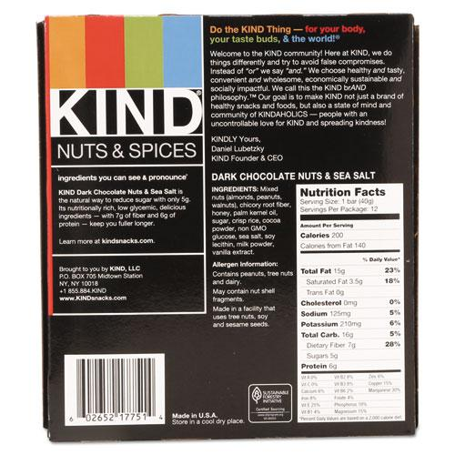 Nuts and Spices Bar, Dark Chocolate Nuts and Sea Salt, 1.4 oz, 12/Box. Picture 8