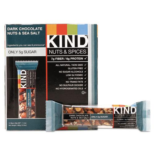 Nuts and Spices Bar, Dark Chocolate Nuts and Sea Salt, 1.4 oz, 12/Box. Picture 1