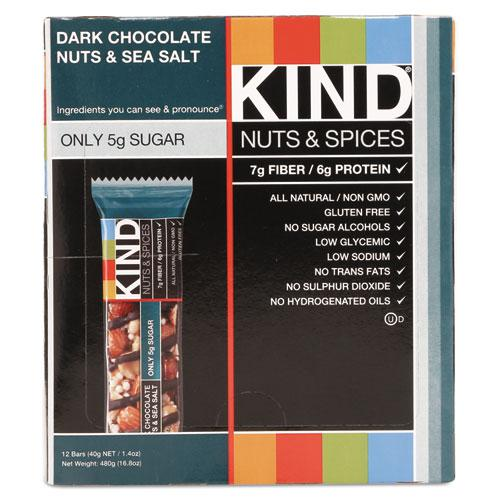 Nuts and Spices Bar, Dark Chocolate Nuts and Sea Salt, 1.4 oz, 12/Box. Picture 6