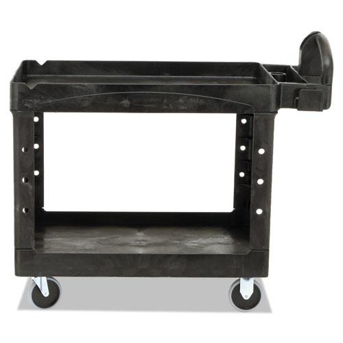 Heavy-Duty Utility Cart, Two-Shelf, 25.9w x 45.2d x 32.2h, Black. Picture 6