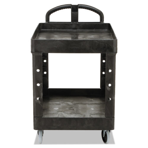 Heavy-Duty Utility Cart, Two-Shelf, 25.9w x 45.2d x 32.2h, Black. Picture 5