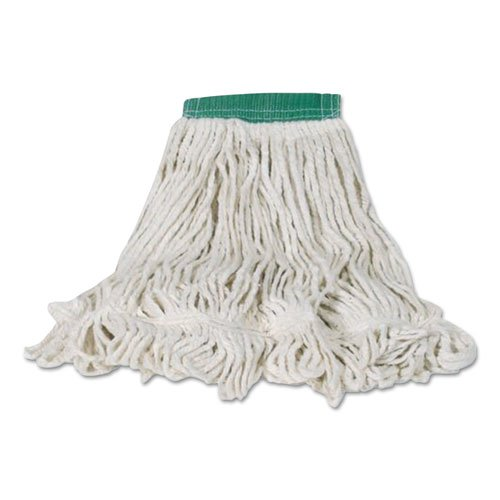 Swinger Loop Shrinkless Mop Heads, Cotton/Synthetic, White, Medium, 6/Carton. Picture 1