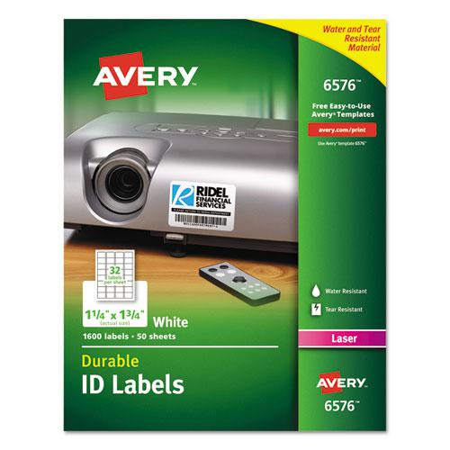 Durable Permanent ID Labels with TrueBlock Technology, Laser Printers, 1.25 x 1.75, White, 32/Sheet, 50 Sheets/Pack. Picture 1