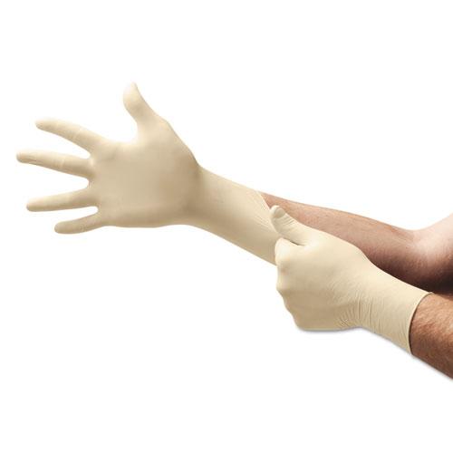 XT Premium Latex Disposable Gloves, Powder-Free, Medium, 100/Box. Picture 1