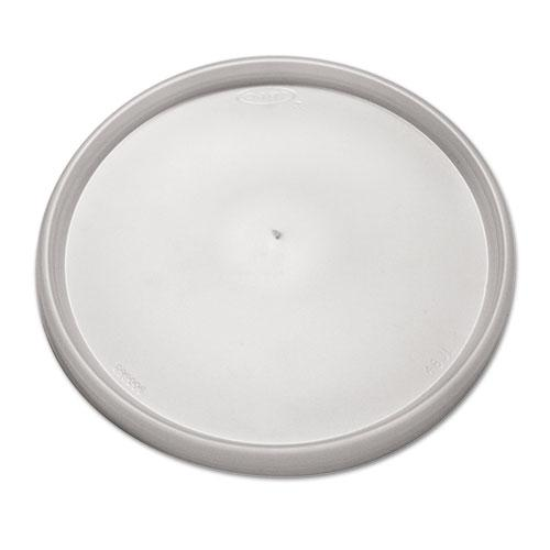 Plastic Lids for Foam Containers, Flat, Vented, Fits 24-32 oz, Translucent, 500/Carton. Picture 1