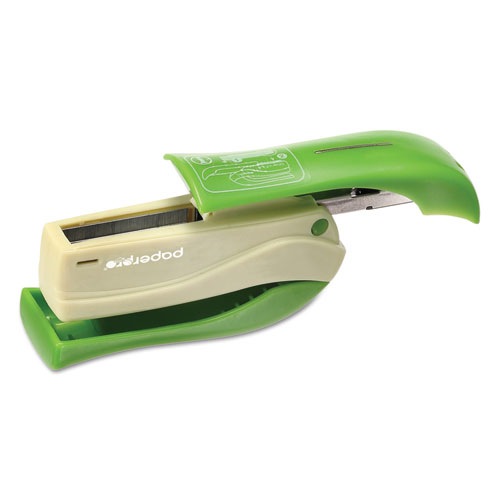 Spring-Powered Handheld Compact Stapler, 15-Sheet Capacity, Green. Picture 2