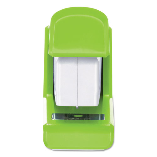 InJoy Spring-Powered Compact Stapler, 20-Sheet Capacity, Green. Picture 2