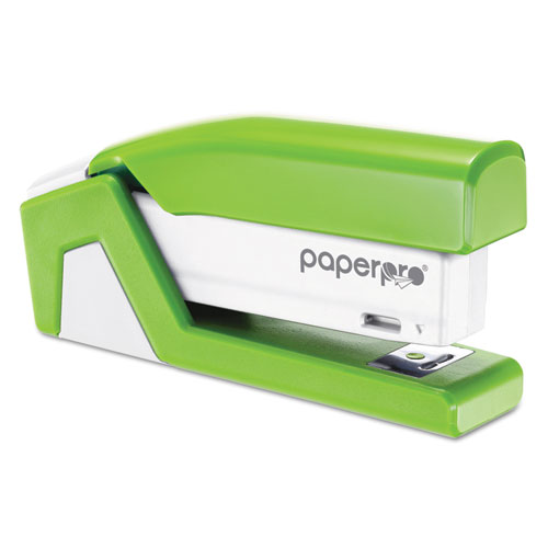 InJoy Spring-Powered Compact Stapler, 20-Sheet Capacity, Green. Picture 3