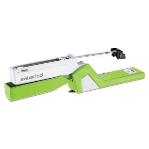 InJoy Spring-Powered Compact Stapler, 20-Sheet Capacity, Green. Picture 4