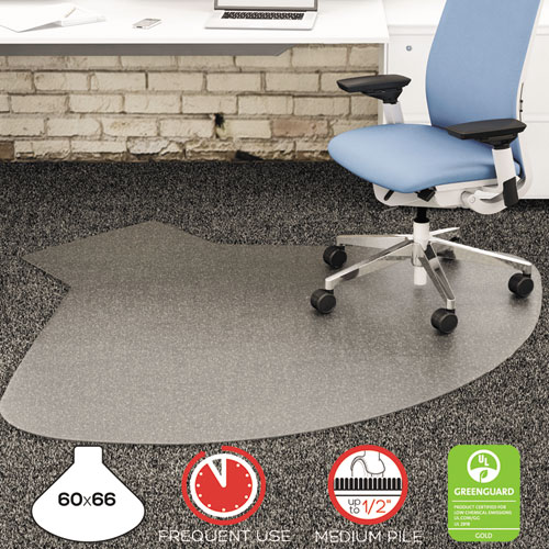 SuperMat Frequent Use Chair Mat, Medium Pile Carpet, 60 x 66, Workstation, Clear. Picture 2