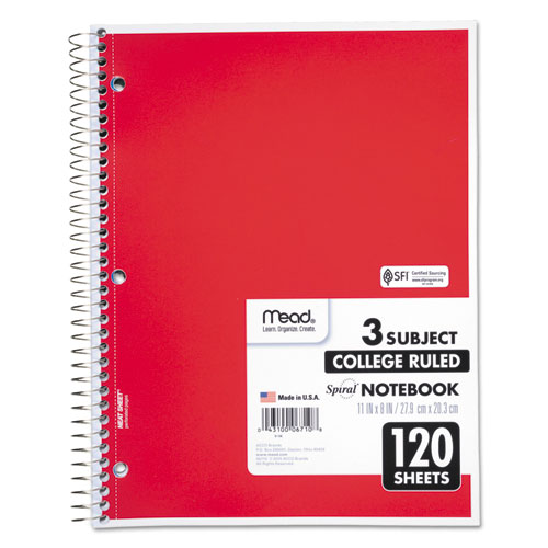 Spiral Notebook, 3 Subjects, Medium/College Rule, Assorted Color Covers, 11 x 8, 120 Sheets. Picture 3