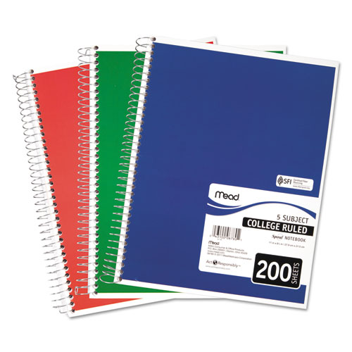 Spiral Notebook, 5 Subjects, Medium/College Rule, Assorted Color Covers, 11 x 8, 200 Sheets. Picture 1