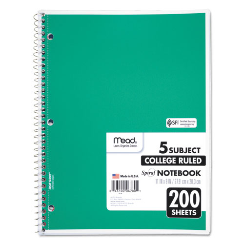 Spiral Notebook, 5 Subjects, Medium/College Rule, Assorted Color Covers, 11 x 8, 200 Sheets. Picture 3
