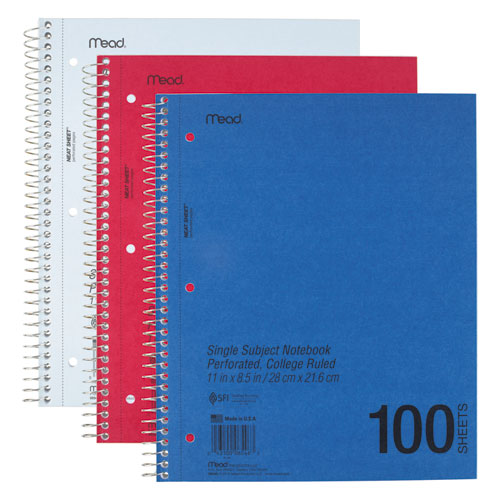 DuraPress Cover Notebook, 1 Subject, Medium/College Rule, Assorted Color Covers, 11 x 8.5, 100 Sheets. Picture 1