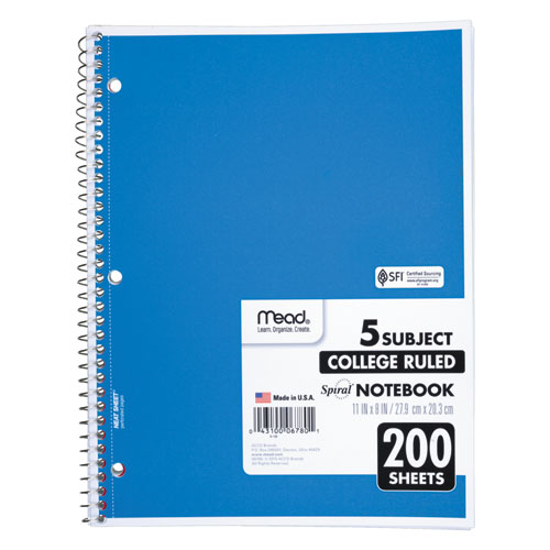 Spiral Notebook, 5 Subjects, Medium/College Rule, Assorted Color Covers, 11 x 8, 200 Sheets. Picture 4