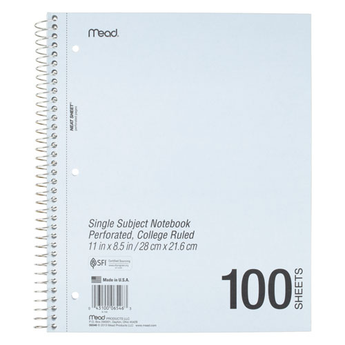 DuraPress Cover Notebook, 1 Subject, Medium/College Rule, Assorted Color Covers, 11 x 8.5, 100 Sheets. Picture 4