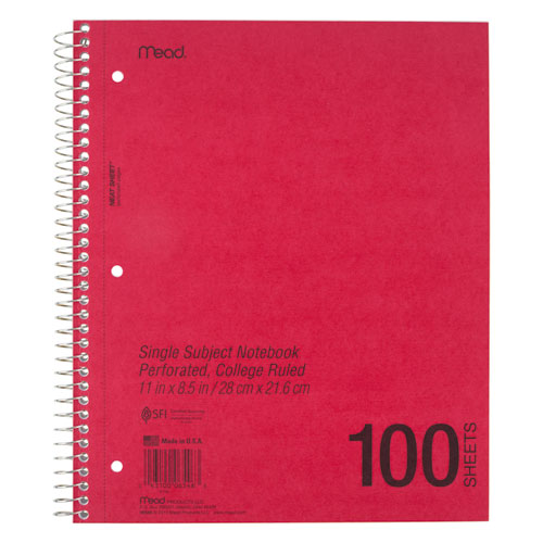 DuraPress Cover Notebook, 1 Subject, Medium/College Rule, Assorted Color Covers, 11 x 8.5, 100 Sheets. Picture 3