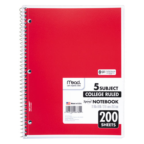 Spiral Notebook, 5 Subjects, Medium/College Rule, Assorted Color Covers, 11 x 8, 200 Sheets. Picture 5