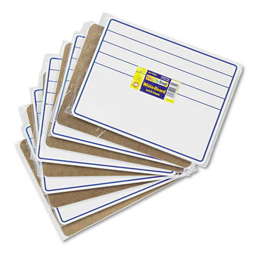 Dry-Erase Student Boards, 12 x 9, Blue/White, 10/Set. Picture 1