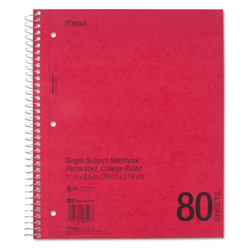 DuraPress Cover Notebook, 1 Subject, Medium/College Rule, Assorted Color Covers, 11 x 8.5, 80 Sheets. Picture 3