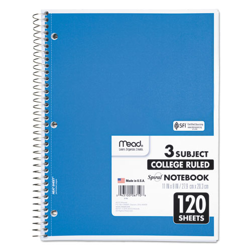 Spiral Notebook, 3 Subjects, Medium/College Rule, Assorted Color Covers, 11 x 8, 120 Sheets. Picture 1